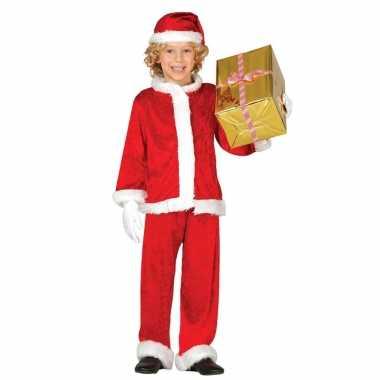 Budget pluche kerstman verkleed kleding voor kinderen 3 delig