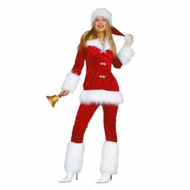 Fluwelen kerstvrouw kleding