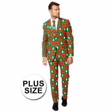 Grote maat heren kleding met kerstbomen print
