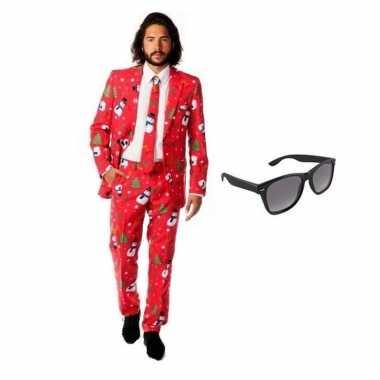 Heren kleding met kerst print maat 50 l met gratis zonnebril