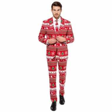 Heren kleding met kerstboom print