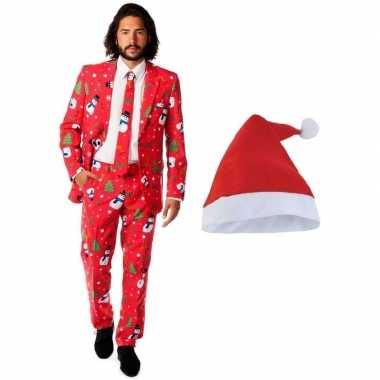 Heren opposuits kerstkleding rood met kerstmuts maat 54 (2xl)