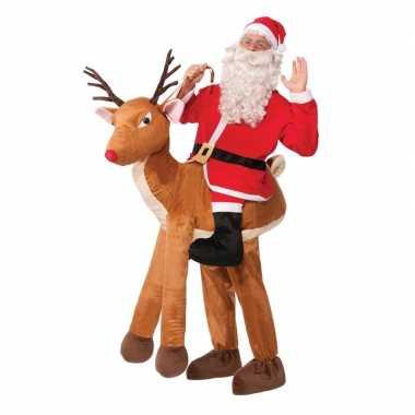 Instapkleding kerstman op rendier voor volwassenen