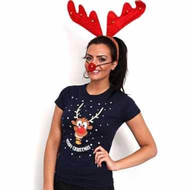 Kerst dames t shirt met rendier