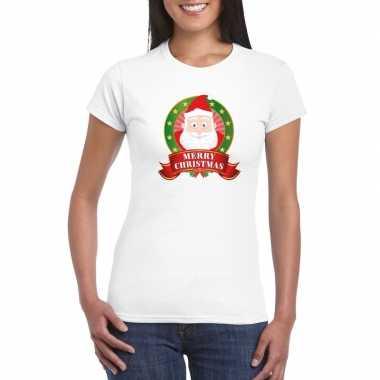 Kerst t-shirt met kerstman wit merry christmas voor dames