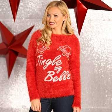 Kersttrui Met Lichtjes Kopen.Rode Dames Kersttrui Tingle My Bells Kerstkleding Kopen Nl