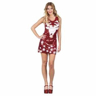 Rood glitter kerstkleding met rendier