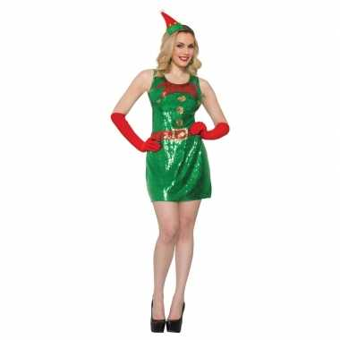 Sexy kerstelf kleding met pailletten voor dames