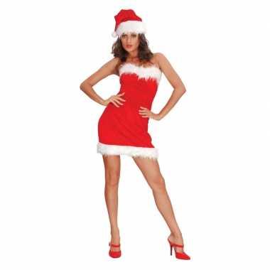 Strapless kerstkleding met muts